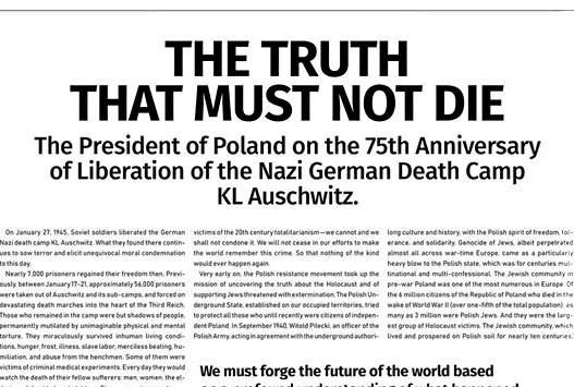 Polska Fundacja Narodowa: Oświadczenie prezydenta Dudy w największych światowych gazetach m. in. The Washington Post, Le Figaro czy Die Welt